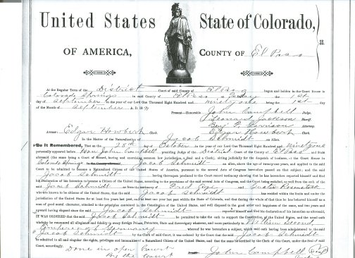 Certificate of Naturalization- Jacob Schmidt